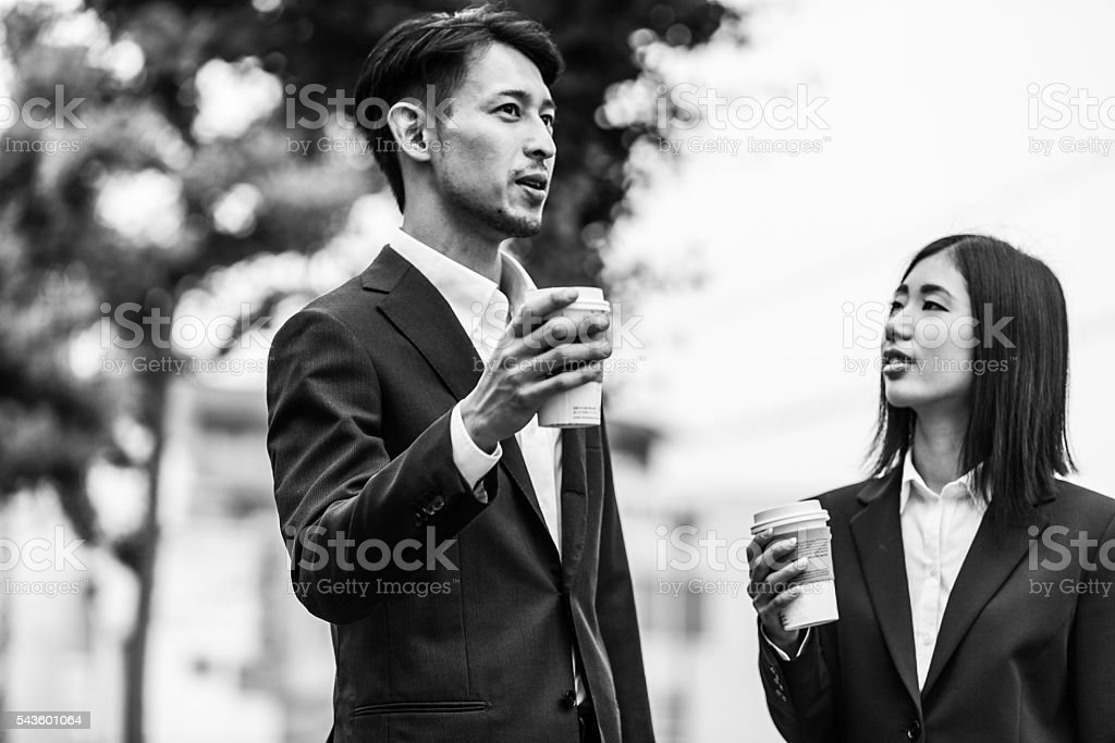 Good Conversation, Hot Coffee, Great Start of the Day. stock photo