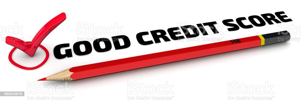 Good credit score. The check mark stock photo