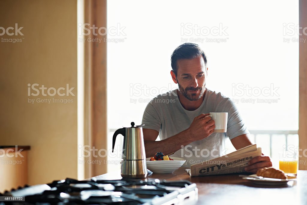 Good days start with coffee stock photo