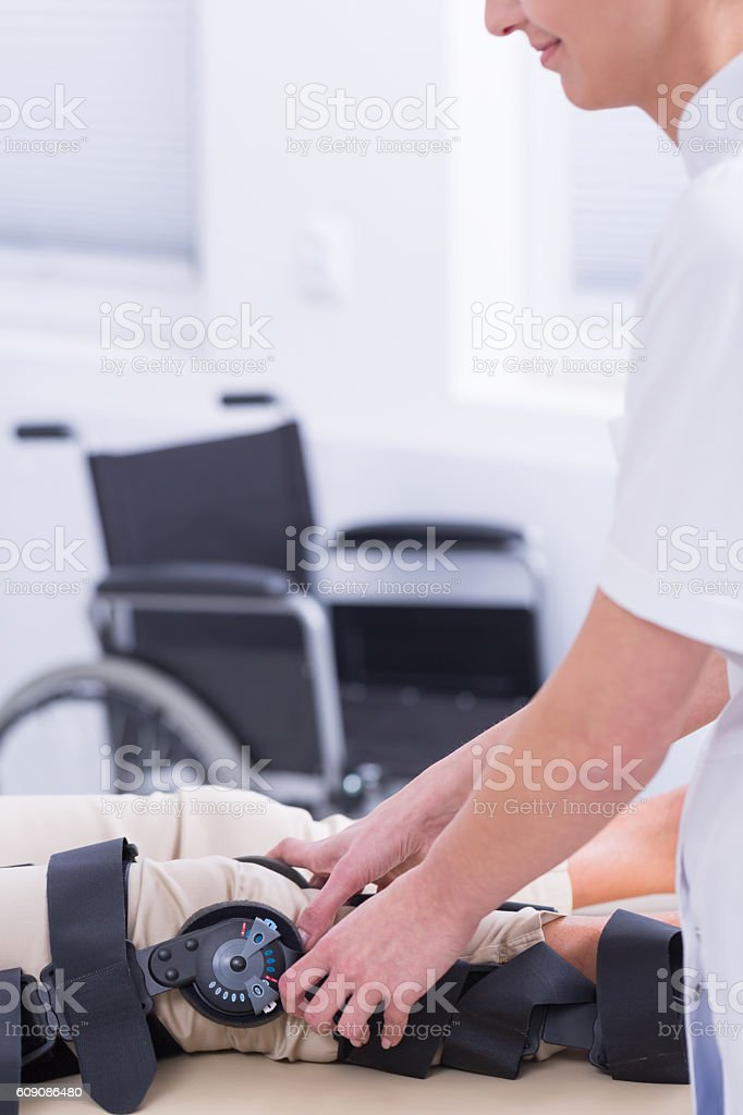 Good doctor that cares about his patient stock photo