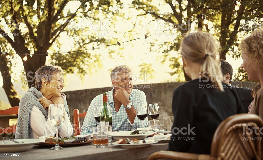Good food brings families together stock photo