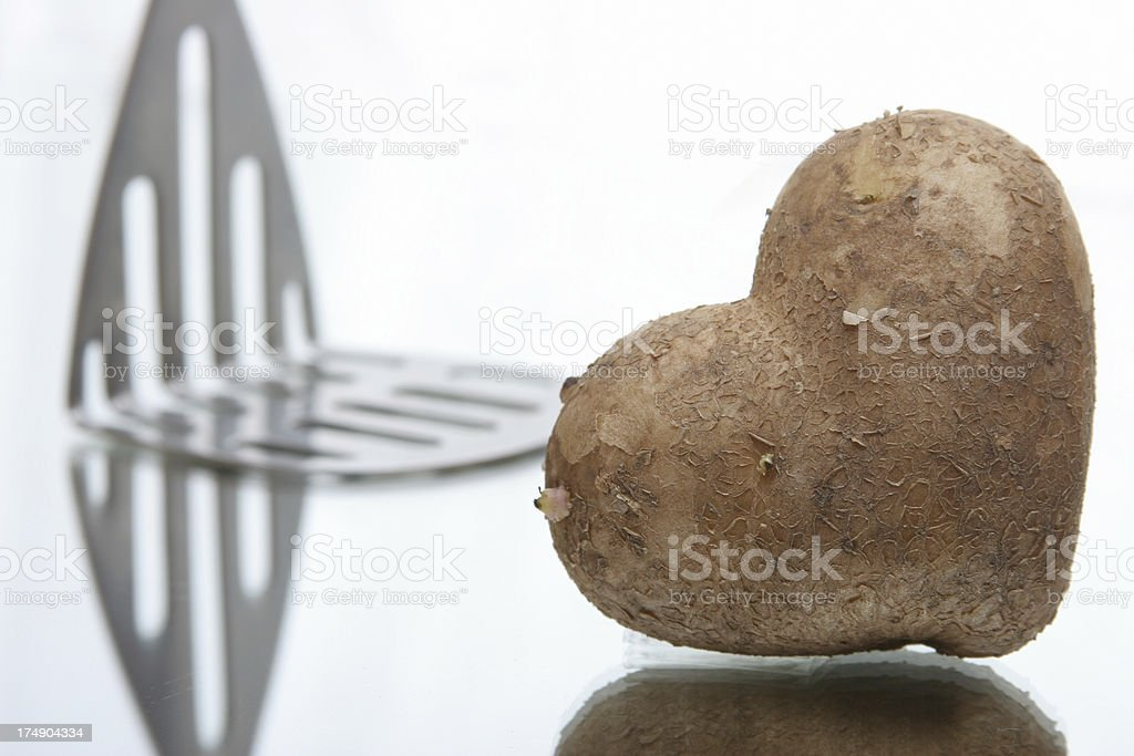 good food, heart shape potato stock photo