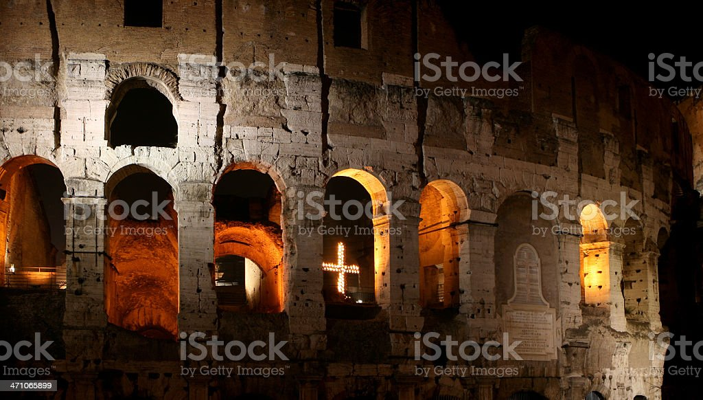 Good Friday at Coliseum -  Way of the Cross royalty-free stock photo