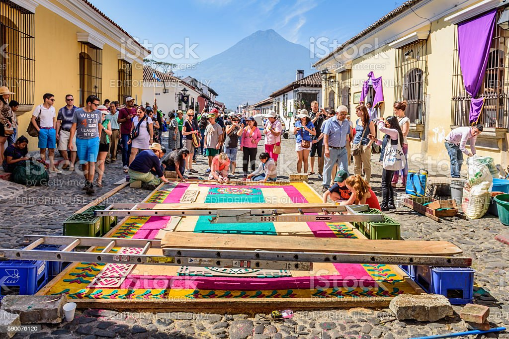 Good Friday carpet & volcano, Antigua, Guatemala stock photo