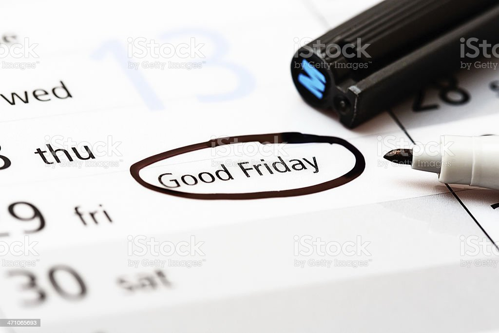 Good Friday circled in pen on diary page royalty-free stock photo