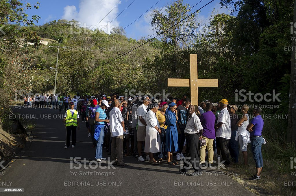 Good Friday way of the cross religious procession ceremony stock photo