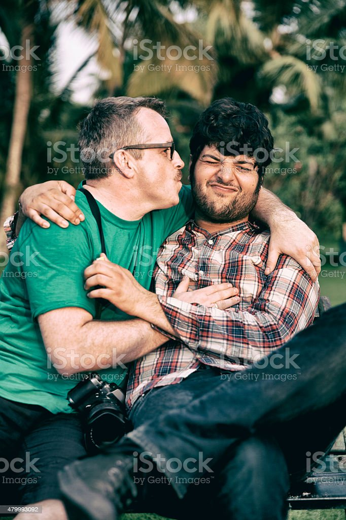 2 good friends having fun. stock photo