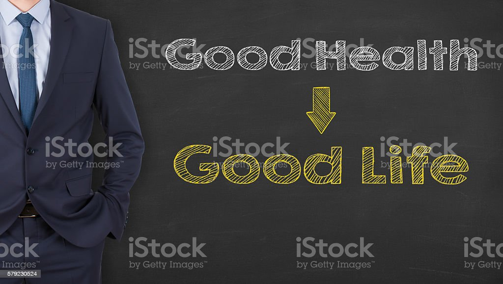 Good Health and Good Life on Chalkboard Background stock photo