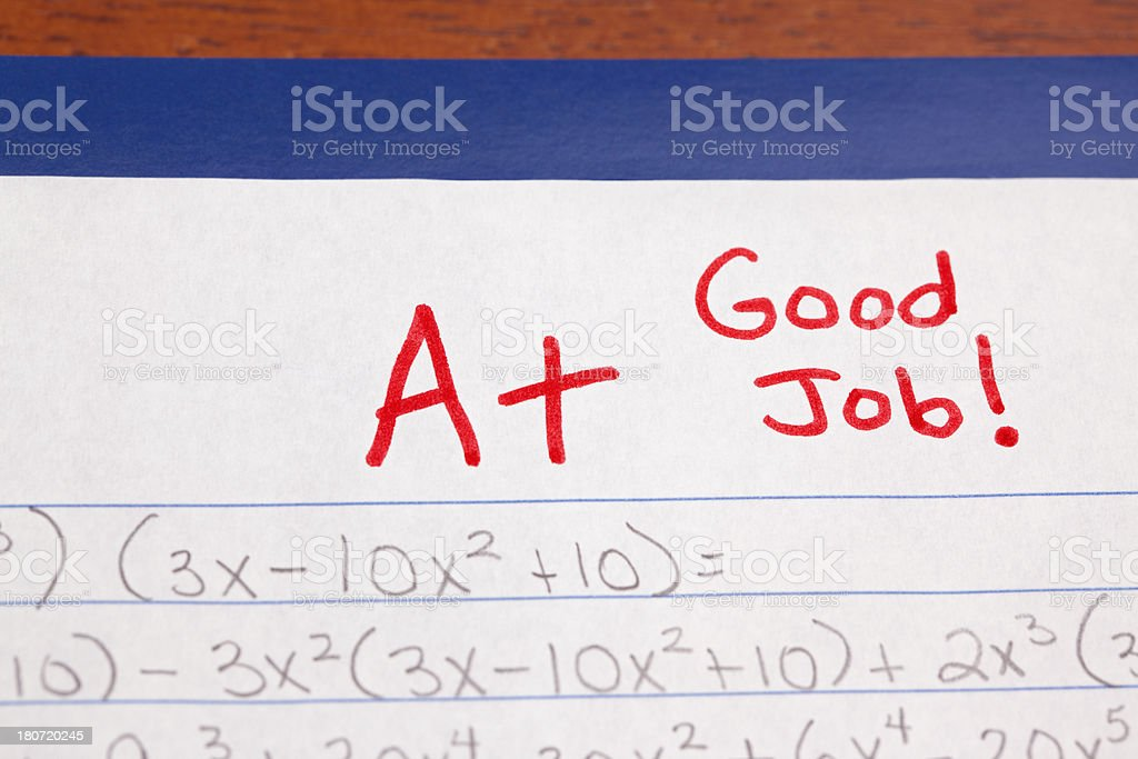 Good Job: A+ on Algebra Homework or Test stock photo