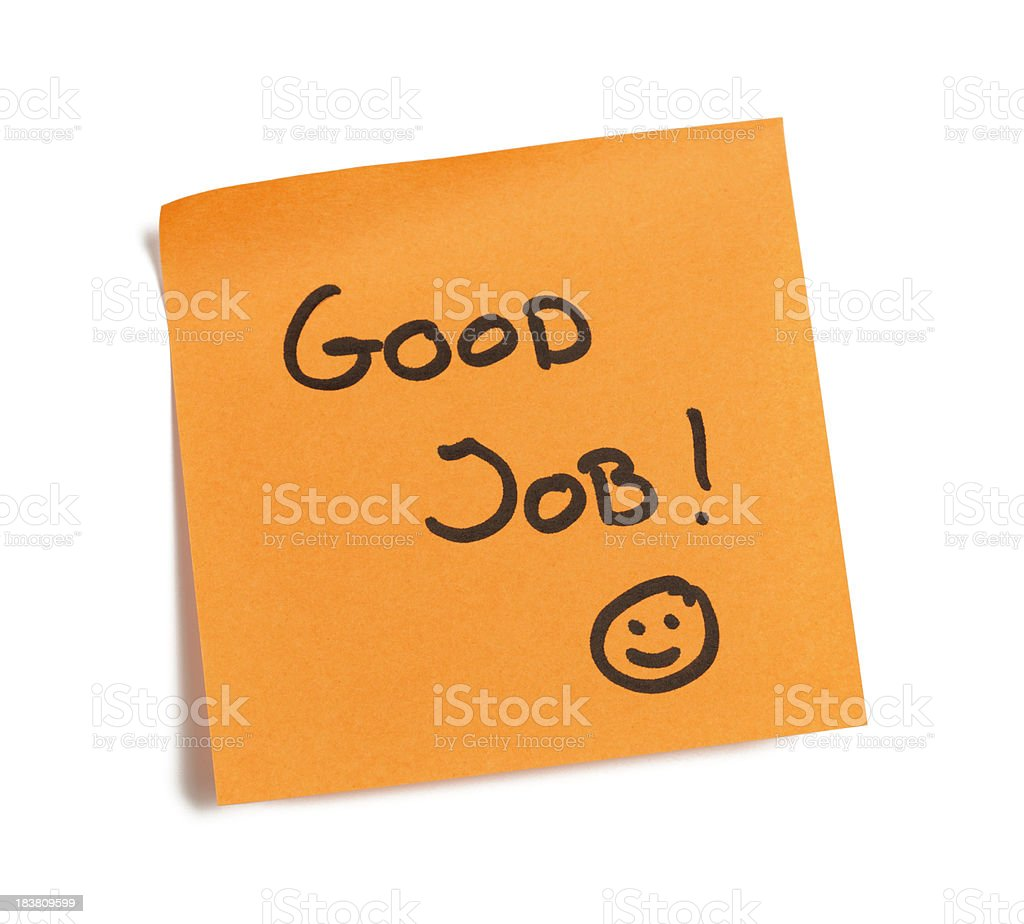 Good Job Note stock photo