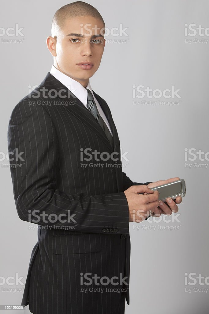 Good Looking Businessman on Gray royalty-free stock photo