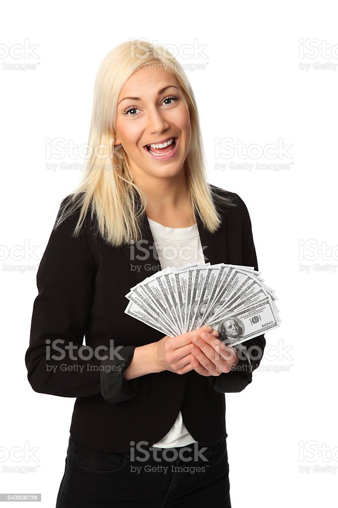 Good looking businesswoman and cash stock photo