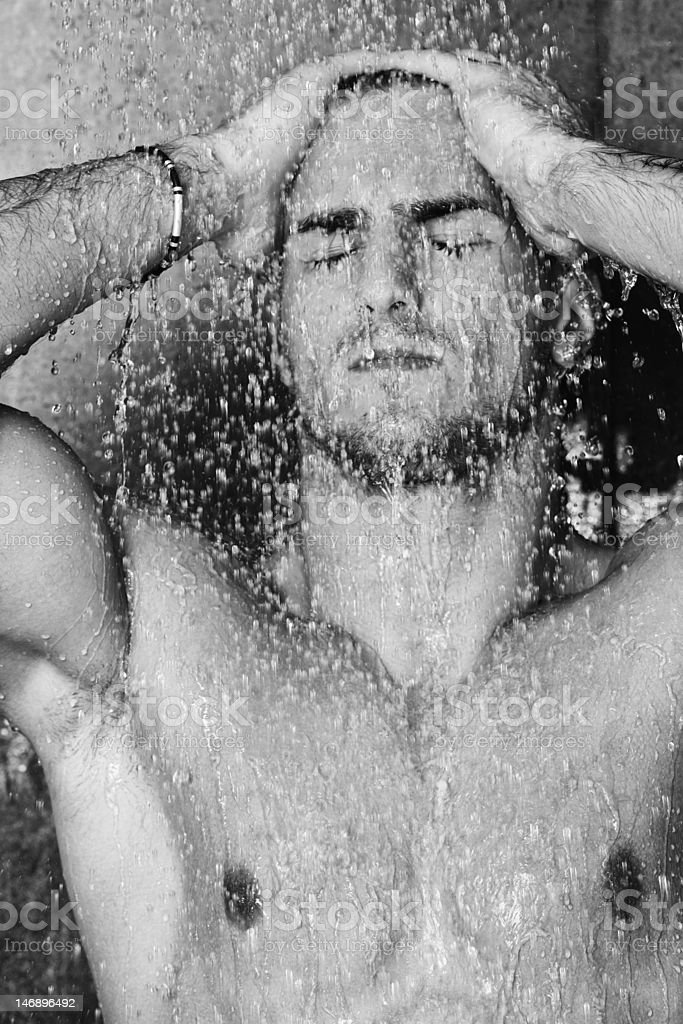 good looking man under shower royalty-free stock photo