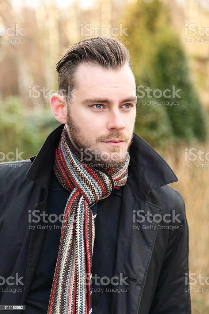 Good looking model on a cold day stock photo