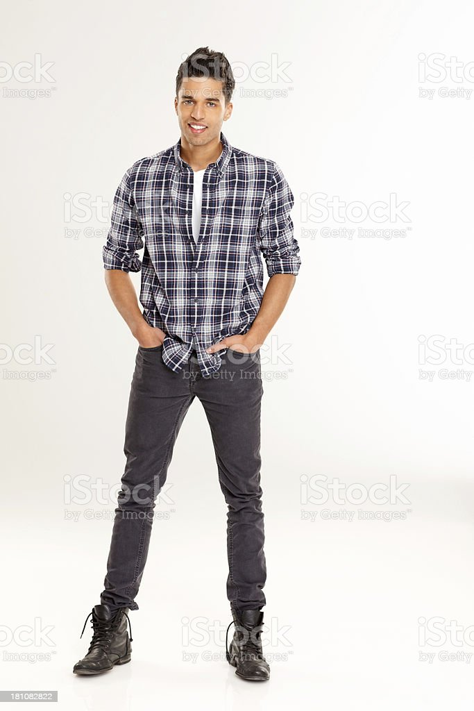 Good looking young man posing over white royalty-free stock photo