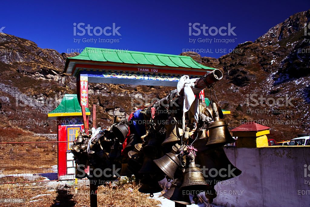 Good luck bells in a temple in Himalayas stock photo