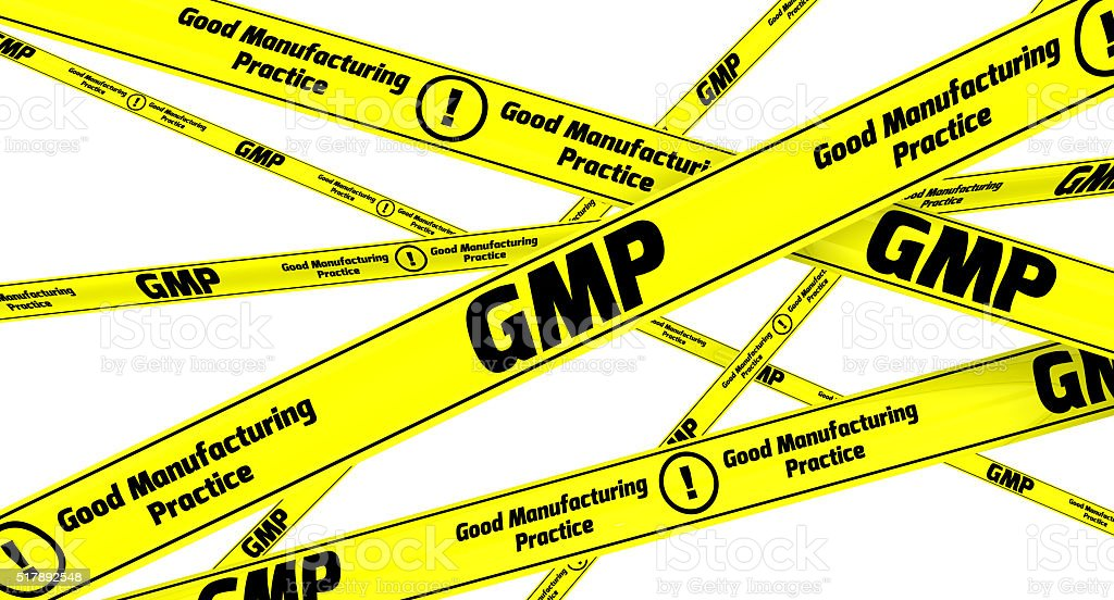 GMP. Good Manufacturing Practice for medicinal products. Yellow warning tapes stock photo