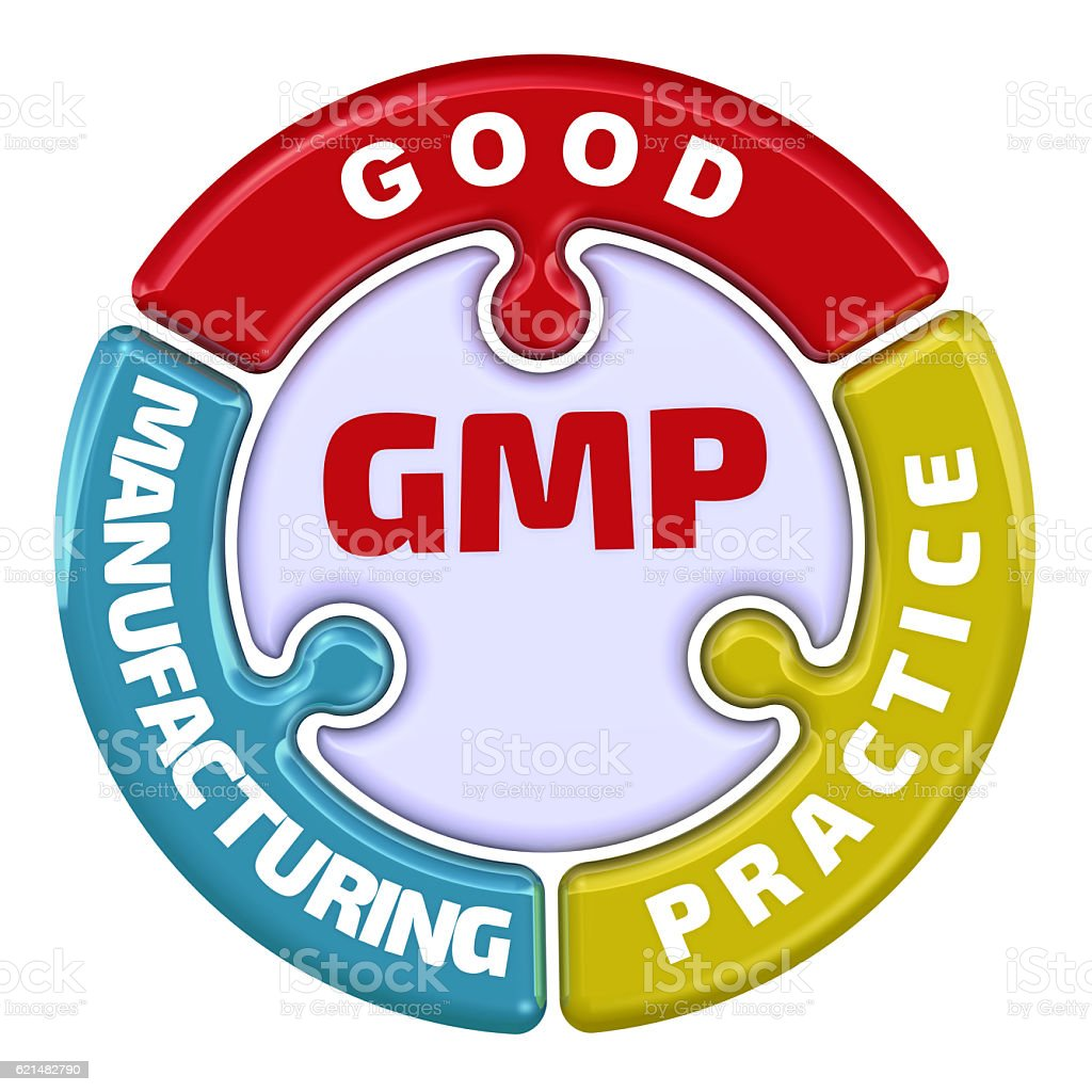 GMP. Good Manufacturing Practice. The check mark stock photo