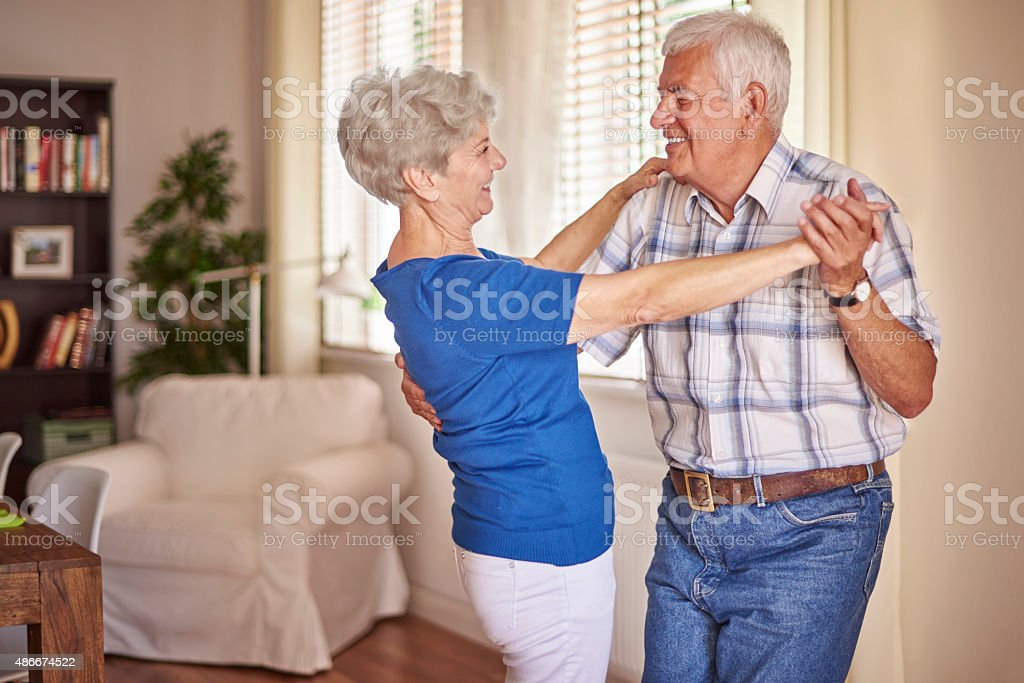 Good mood is very important at this age stock photo