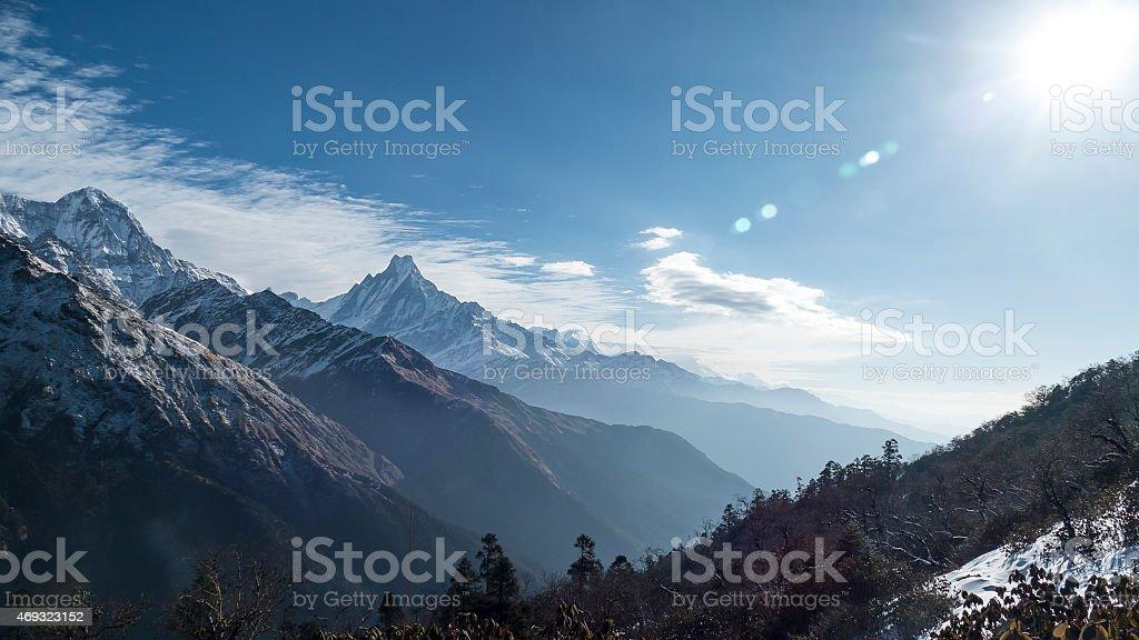 good morning annapurna stock photo