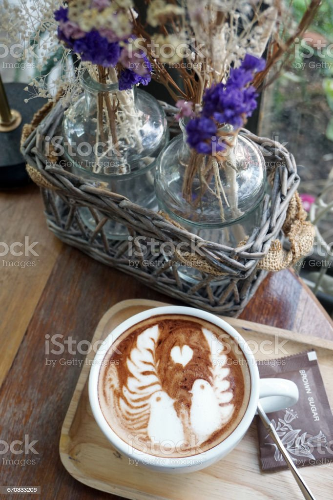 Good morning coffee cup - a cup of hot mocha with latte art. stock photo