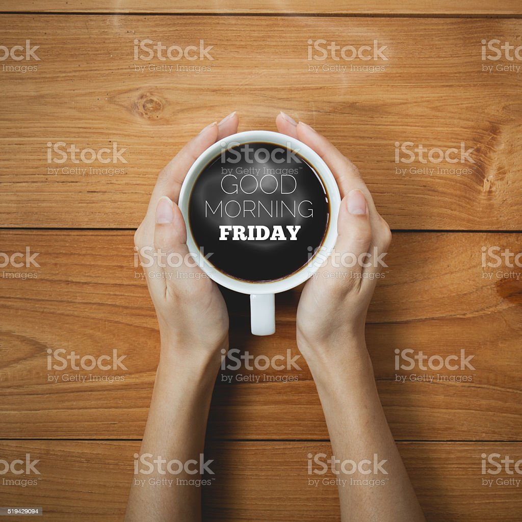 Good Morning Friday on Coffee cup concept stock photo