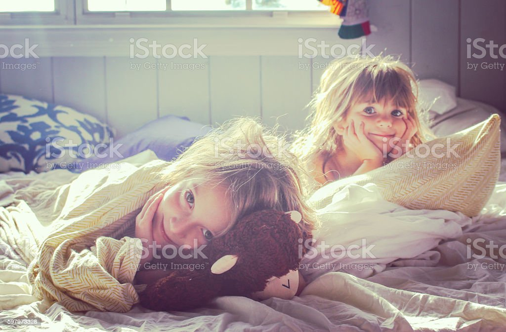 Good morning girls stock photo