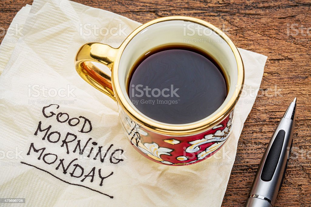 Good morning, Monday on napkin stock photo