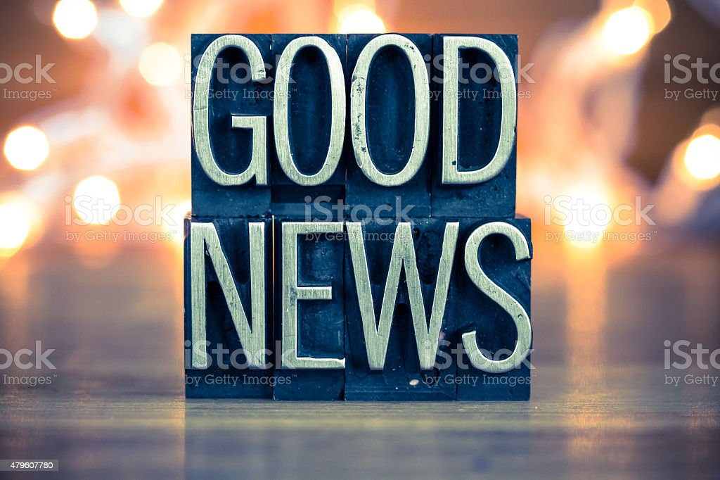 Good News Concept Metal Letterpress Type stock photo