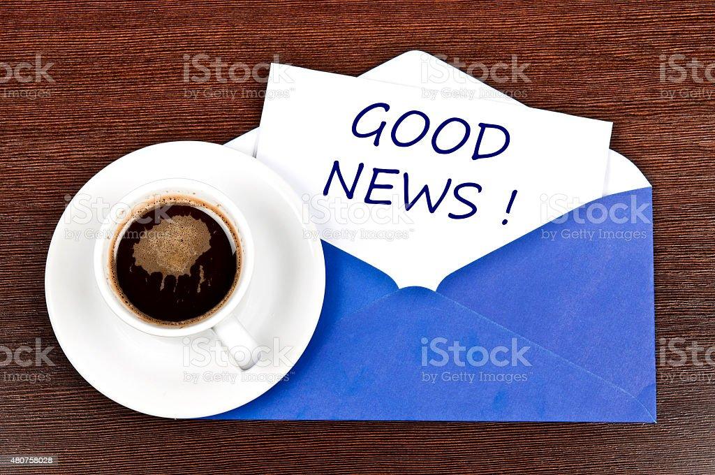 Good news message stock photo