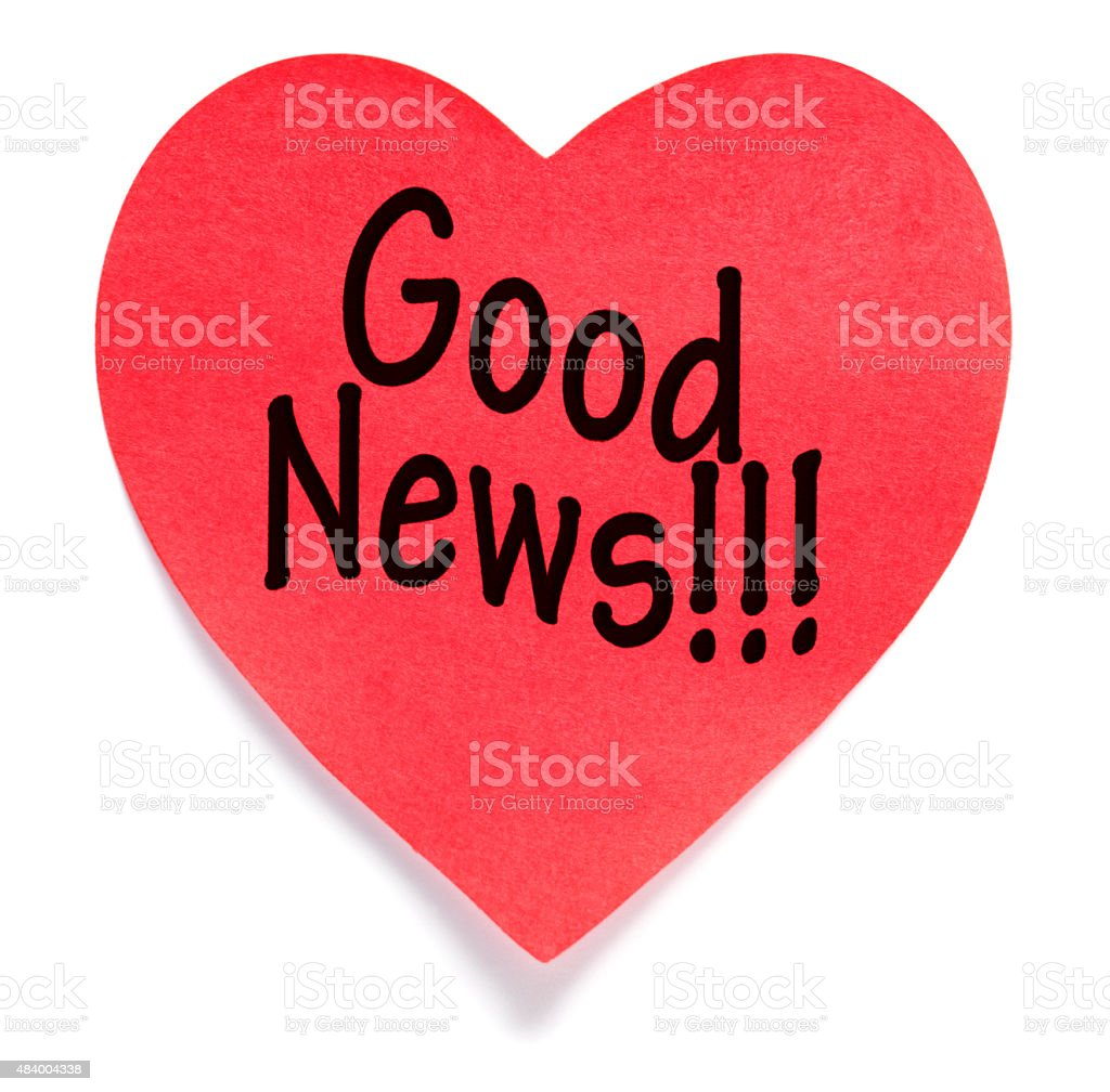 Good News! Post-it Note heart shape stock photo