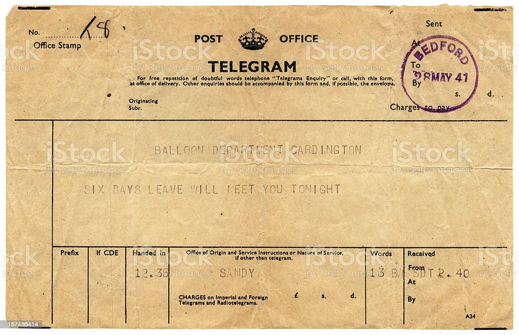 Good news telegram to Cardington, 1941 royalty-free stock photo