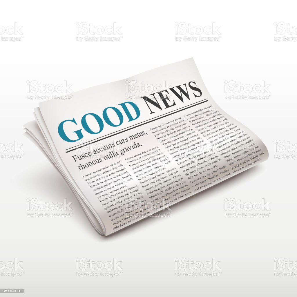 good news words on newspaper stock photo