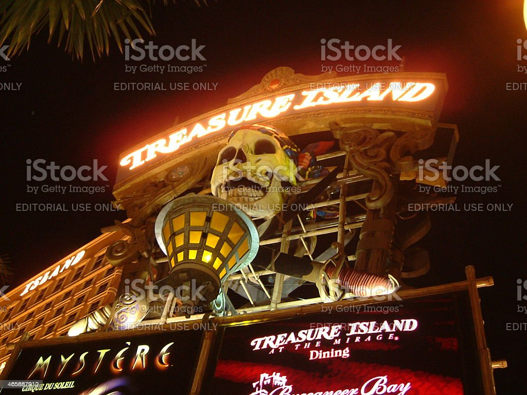 Good old days of the landscape of Las Vegas?Treasure Island stock photo