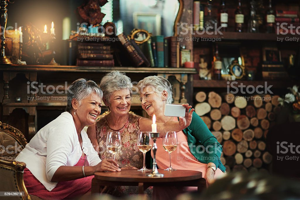 Good old friends making brand new memories stock photo