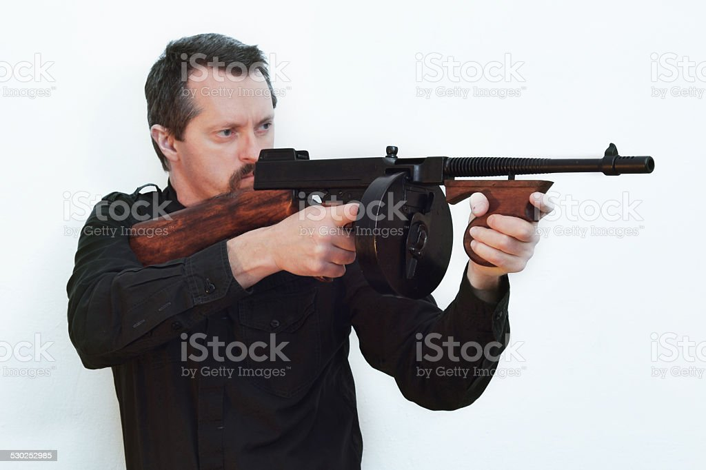 Good old gangsters Tommy Gun stock photo