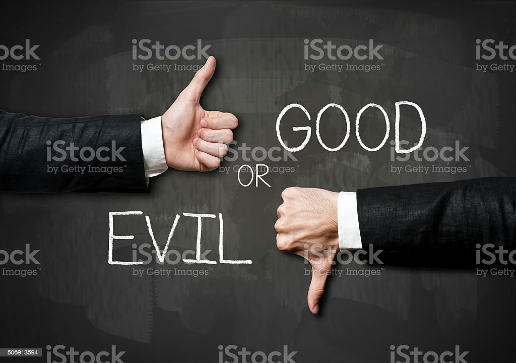 Good or Evil / Blackboard concept (Click for more) stock photo