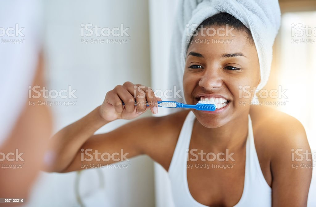 Good oral hygiene begins every morning stock photo
