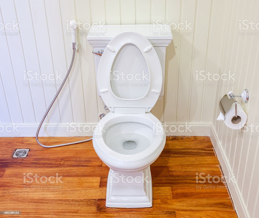 Good preparing clean white and sterile toilet in bathroom stock photo