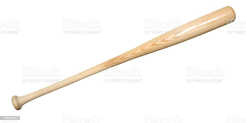 A good quality wood baseball bat against a white background. royalty-free stock photo