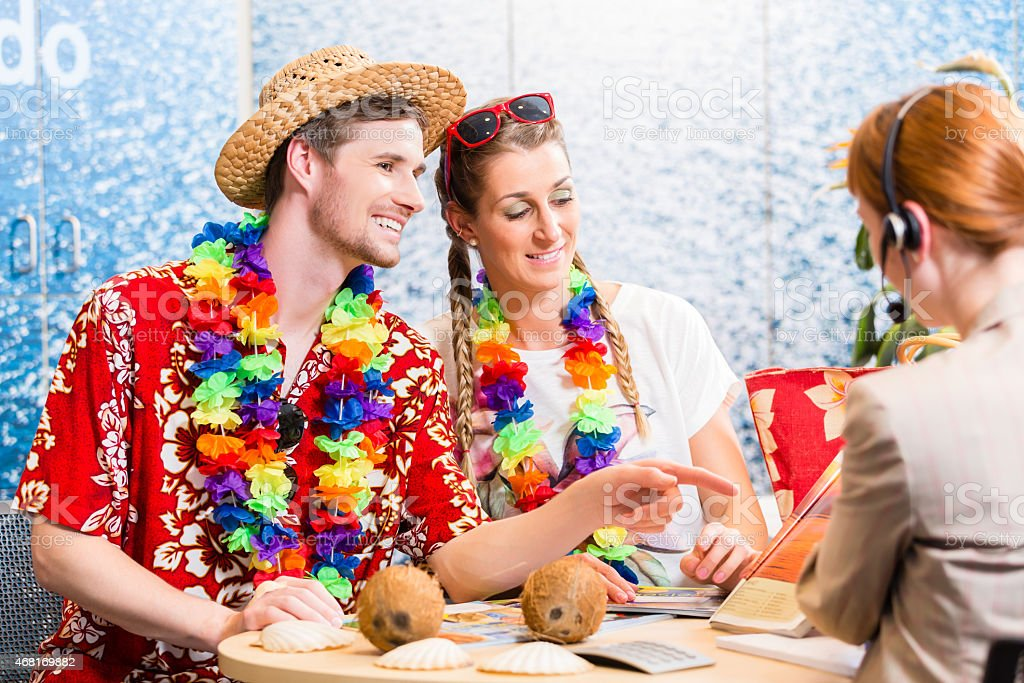 Good service in travel agency stock photo