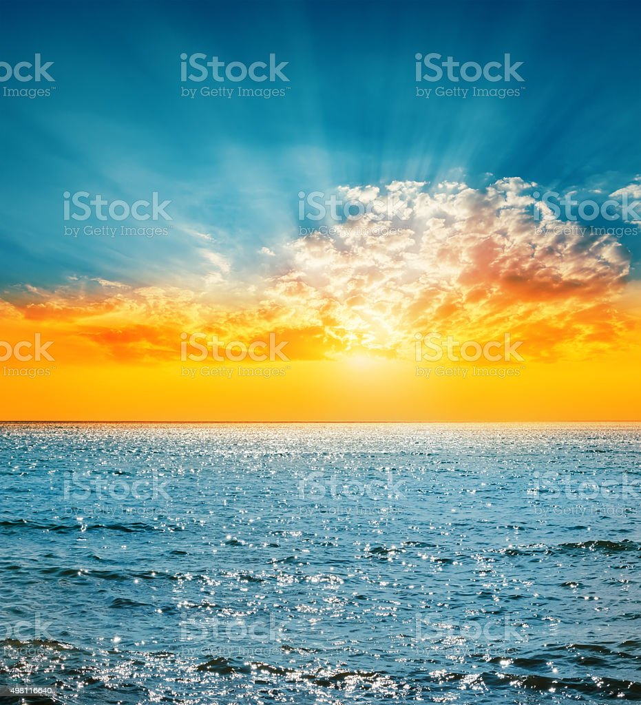 good sunset and sea stock photo