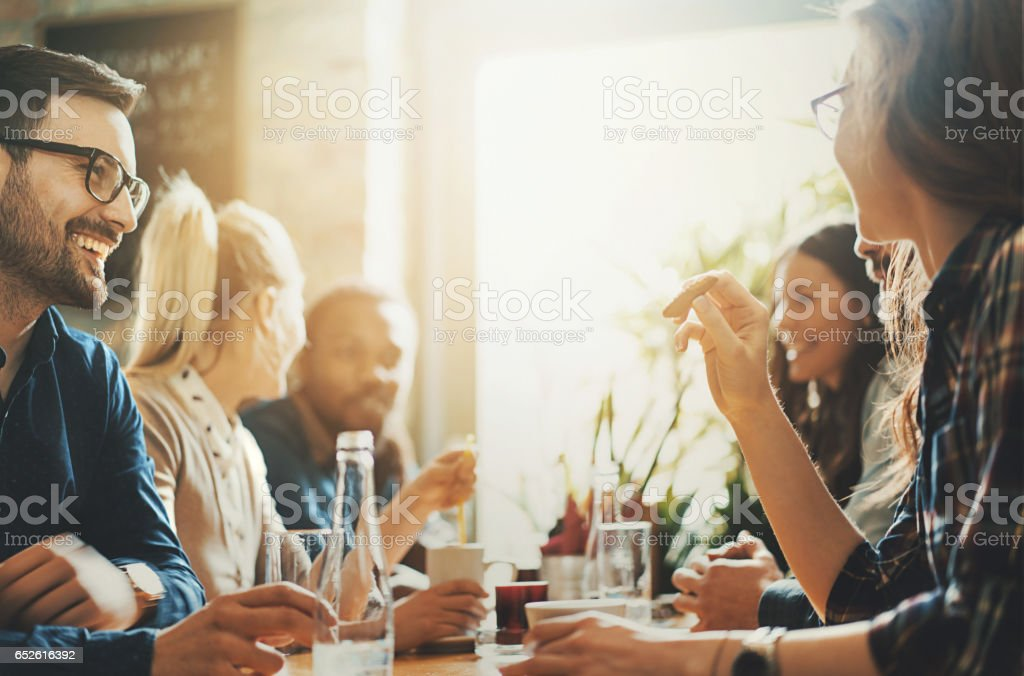 Good times at a restaurant. stock photo