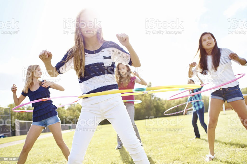 Good times with hulahoops! royalty-free stock photo