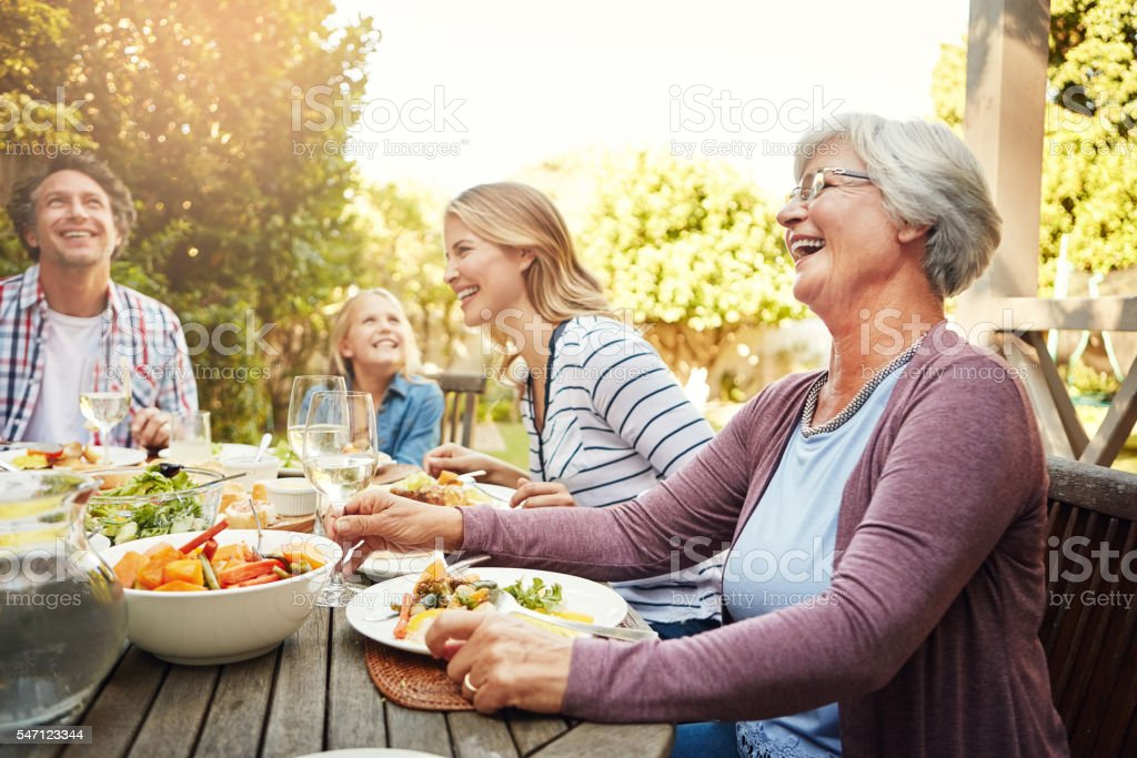 Good wholesome fun with the family stock photo