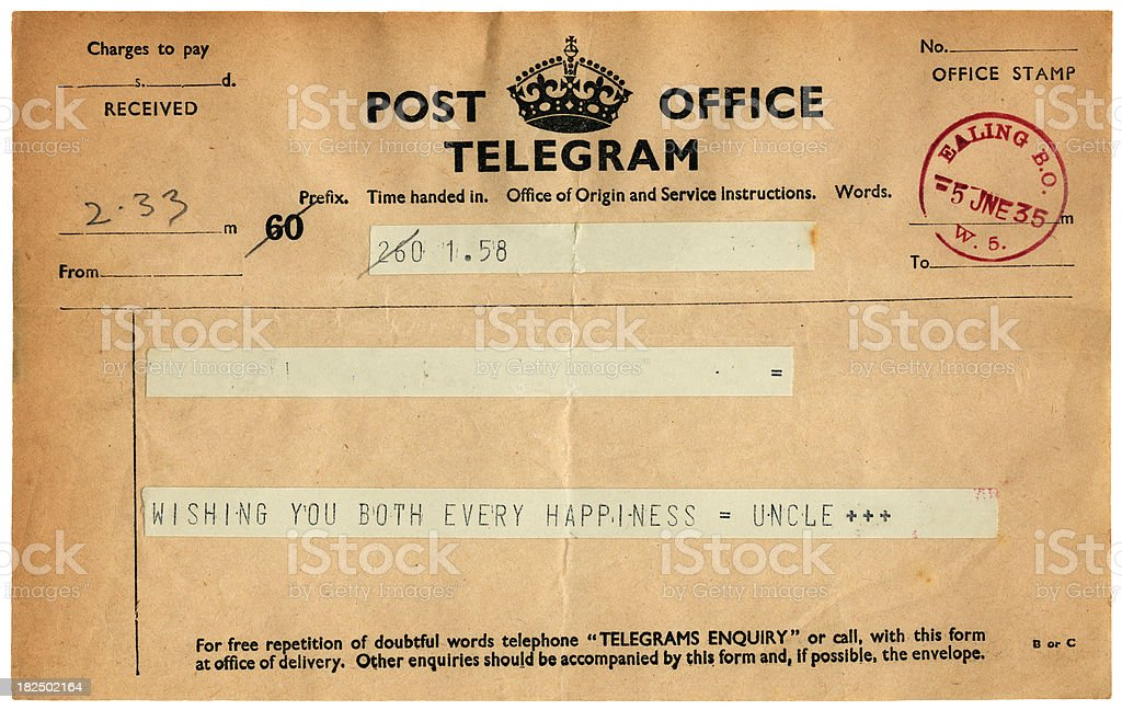 Good wishes telegram from 1935 royalty-free stock photo