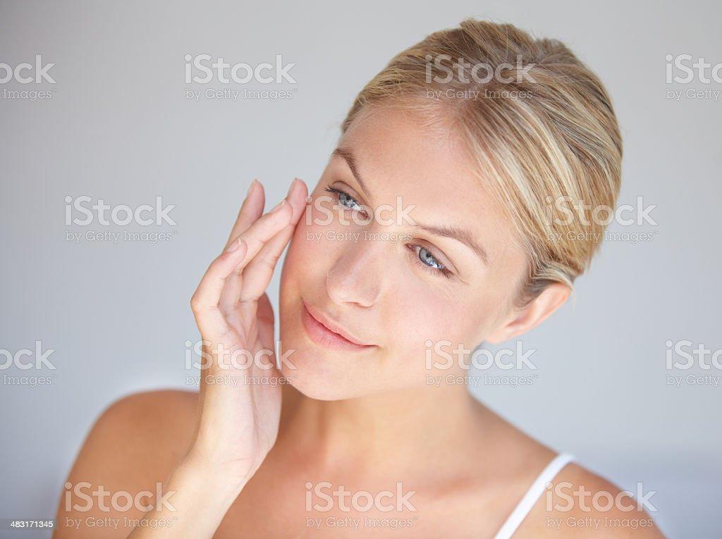 Goodbye wrinkles, hello flawless skin! stock photo