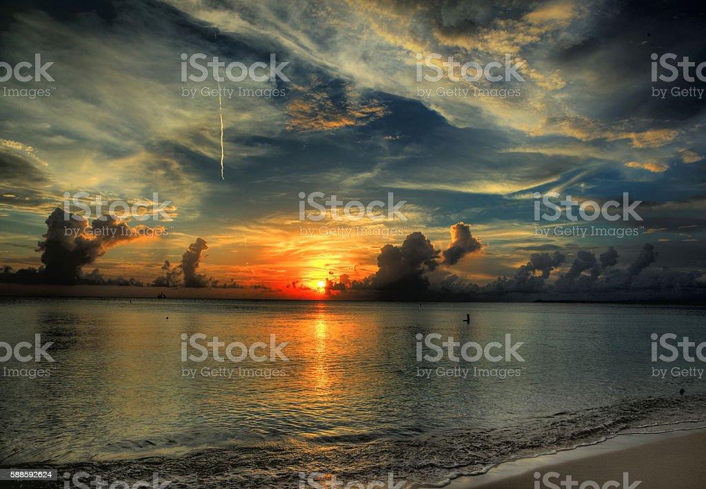 Goodnight to the sun stock photo