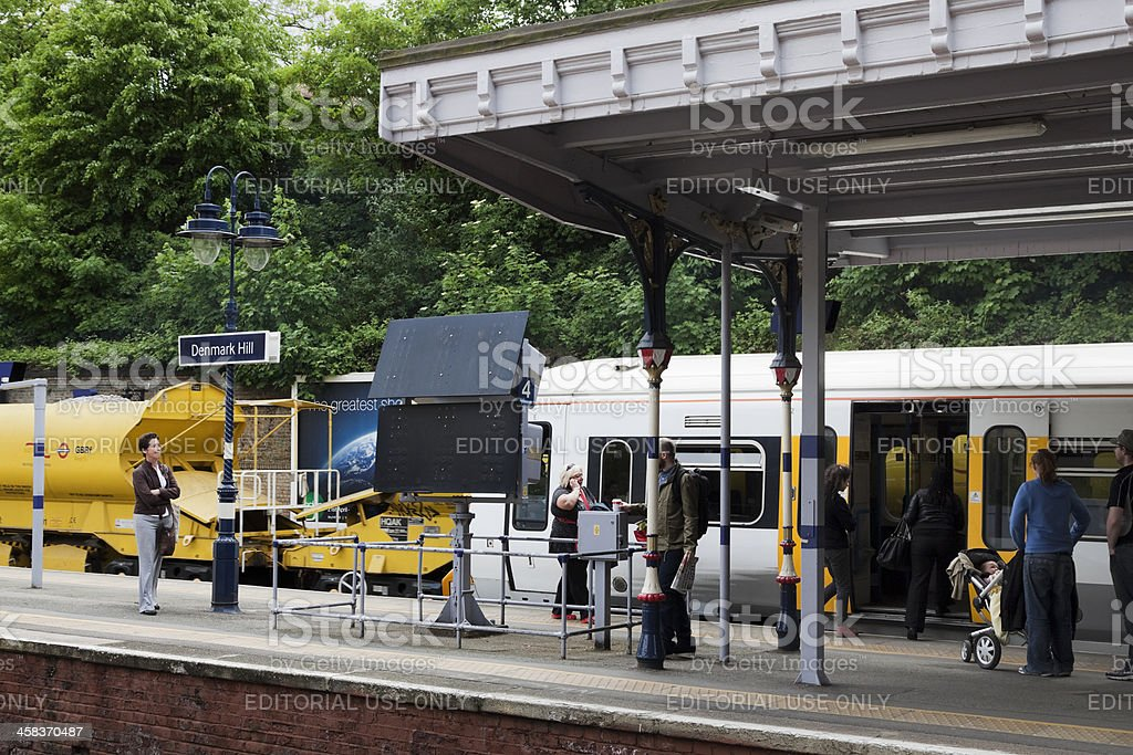Goods and commuter trains at Denmark Hill royalty-free stock photo