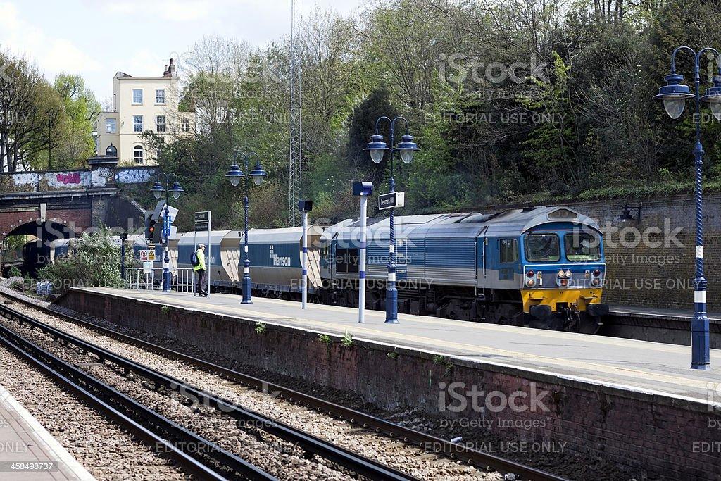 Goods train passing royalty-free stock photo